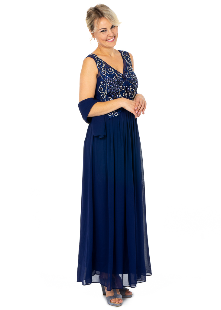 Long Wholesale Party Dresses featuring V-neckline With Busy Top Embellishment
