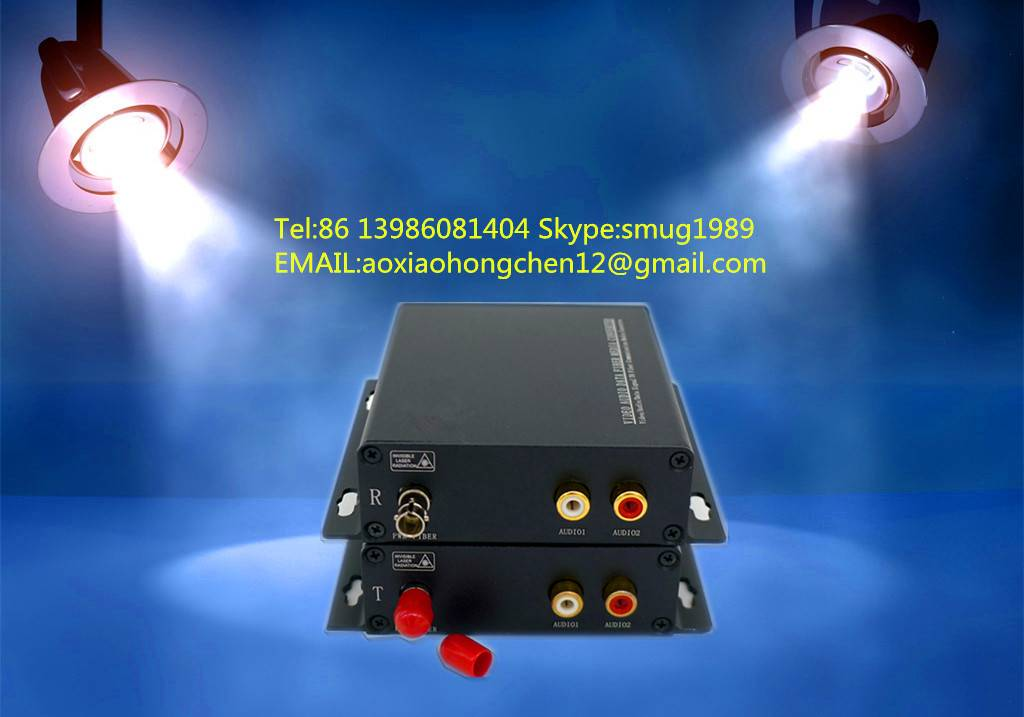 fiber optic stereo audio to RCA converter for 1~4CH stereo audio over 1 SM/MM fiber extender in prof