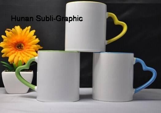 11oz sublimation mug with heart shaped handle