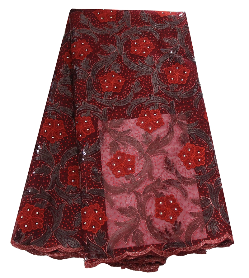 Latest New arrival high quality sequins African lace tulle dress fabric