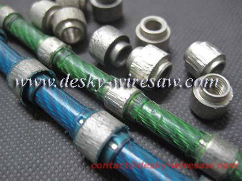 diamond wire saw with 40 beads 10.5mm diameter for marble block squaring rubber sintered