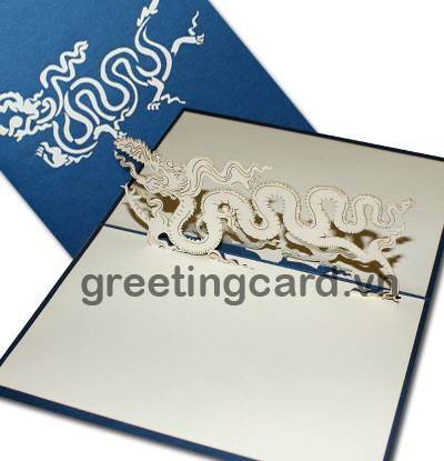One dragon 3D pop up greeting card