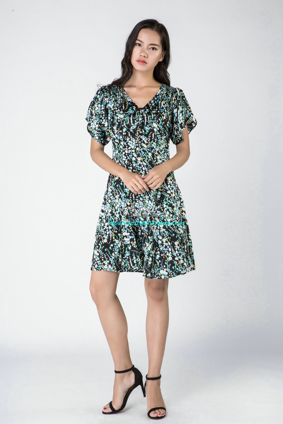 Gaoping  Wenqiong G1633 patern printed silk short sleeve women dress