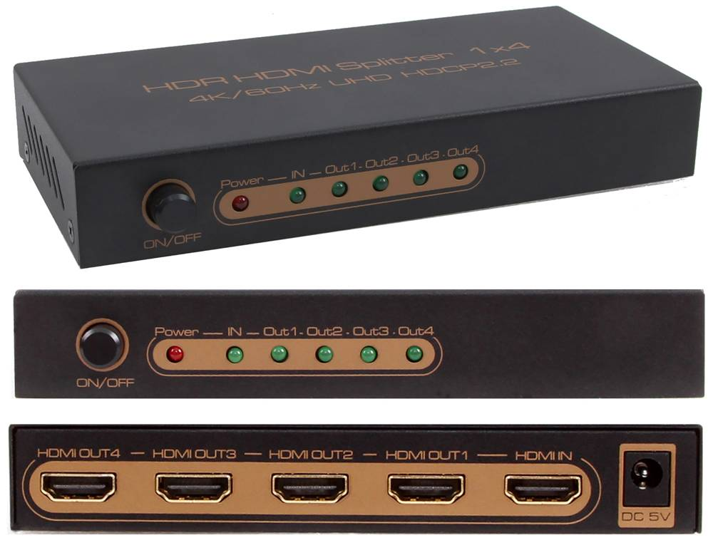 HDR HDMI Splitter for 4K 60Hz UHD HDCP2.2 1x4 Port