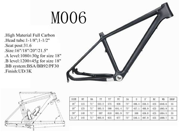 YD-M006 China full carbon fiber MTB frame,mountain bike fram , monocoque frame