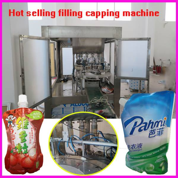 full automatic 1000ml Liquid detergent doypack standing up bag/sachet/pouch filling capping packing