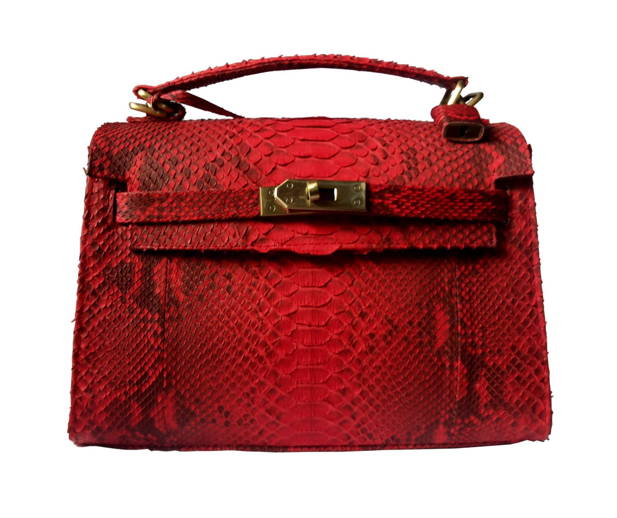 Genuine Snakeskin Leather Handbag,