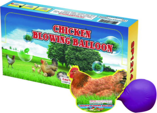 chicken blowing balloon toy fireworks from China