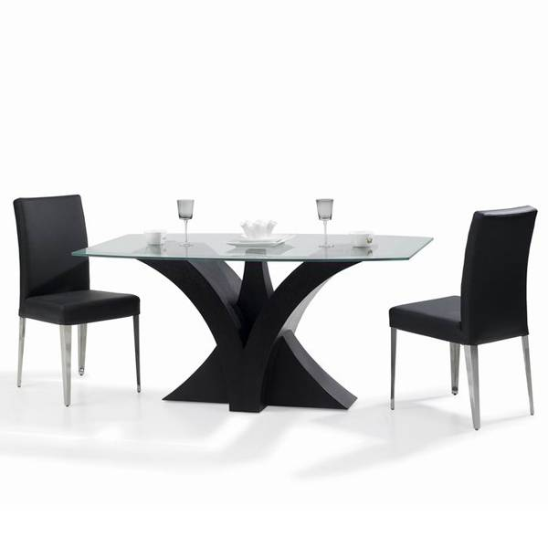 Modern Wooden dining table set 6 chairs with glass top 2012 hot sale