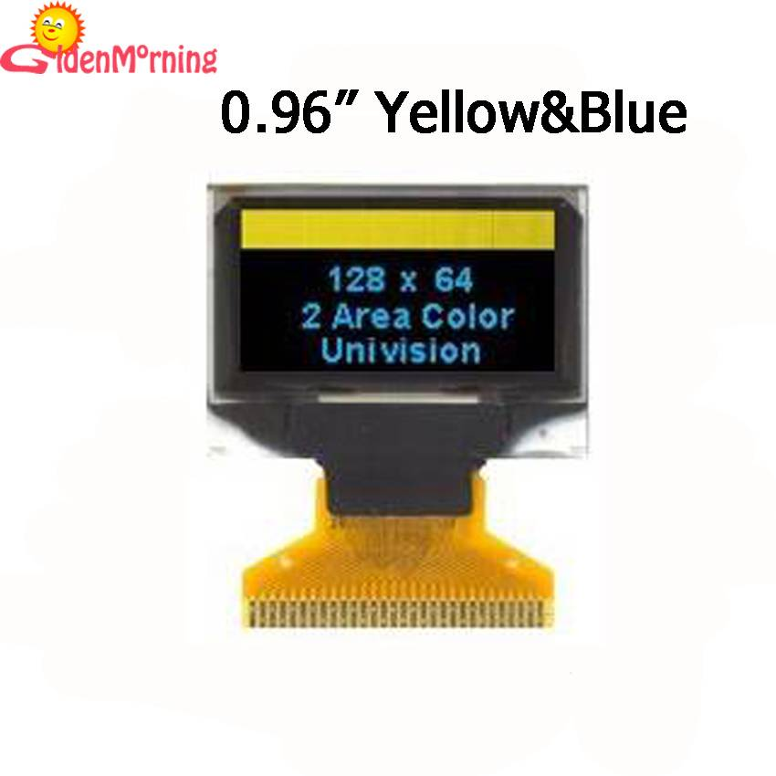 0.96'' OLED display module with yellow &blue  128 x 64 px resolution, blue characters in black backg