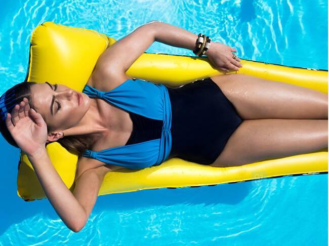 contrast colour high waist one piece swimwear