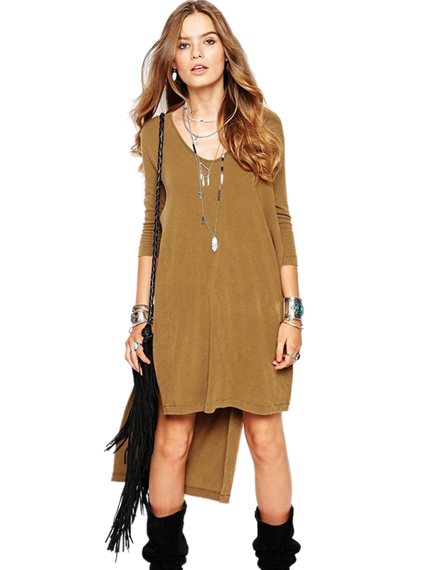 Fashion Khaki Women O Neck Long Sleeve Dress Midi Dress