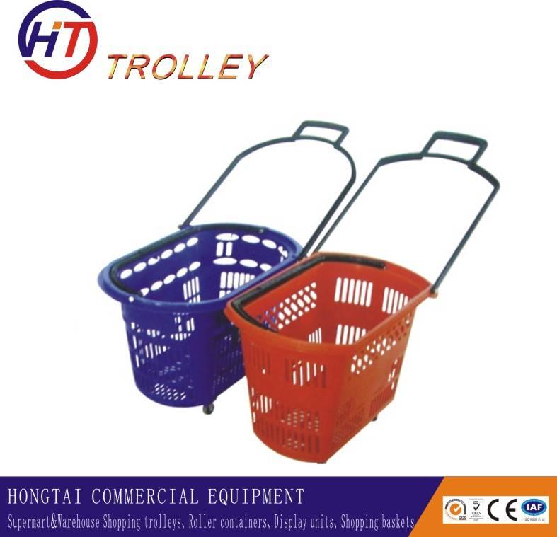 plastic basket supermarket rolling shopping basket for sale