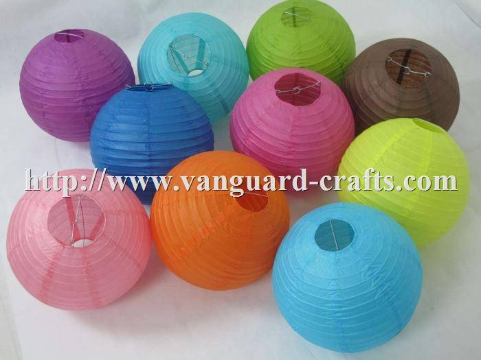 Round Paper Lanterns, Even Ribbing , Solid Color