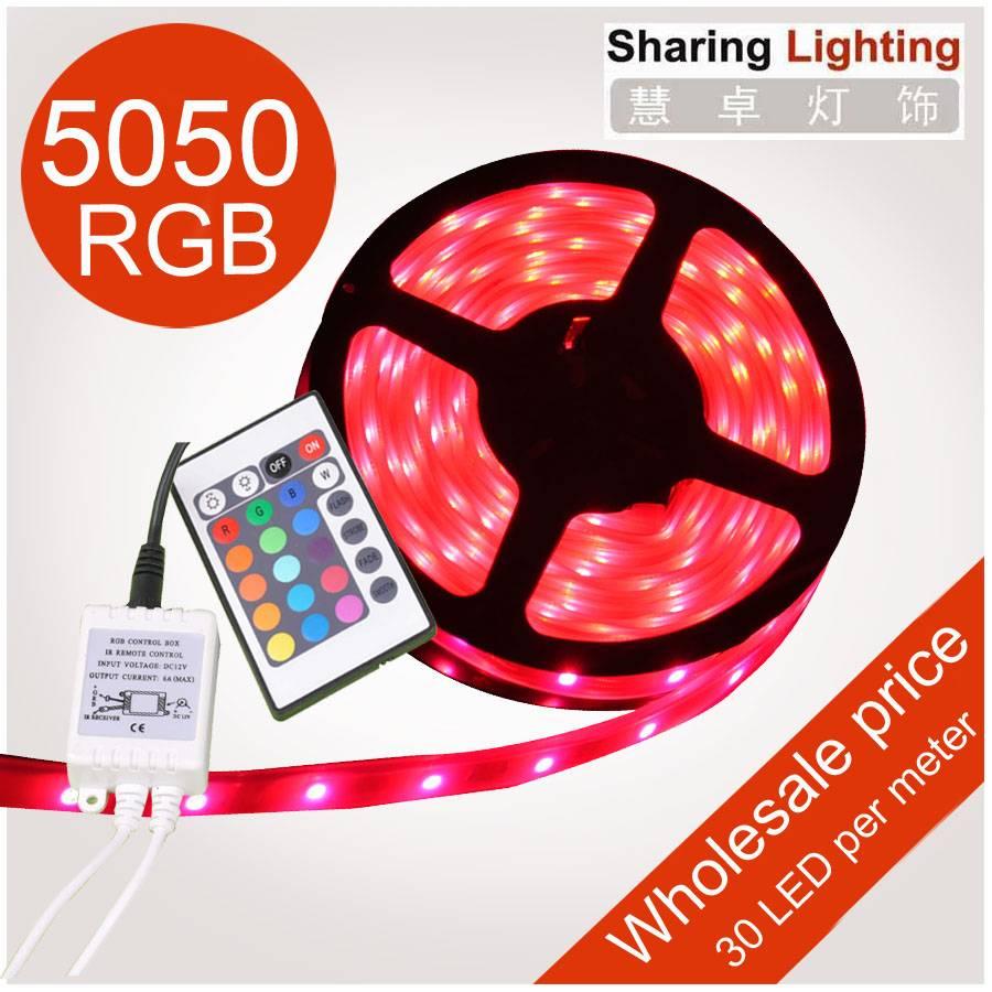 IN STOCK Christmas decoration lights, 12V Waterproof 5050 led RGB strip +24 Keys I