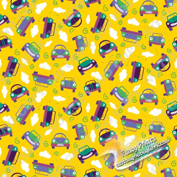 Driving cars in yellow background print for bamboo lycra knit fabric