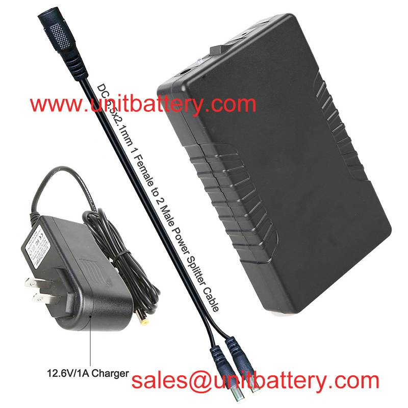 Rechargeable 6000mAh Li-Ion Battery Pack For LED Strip And CCTV Camera with Charger