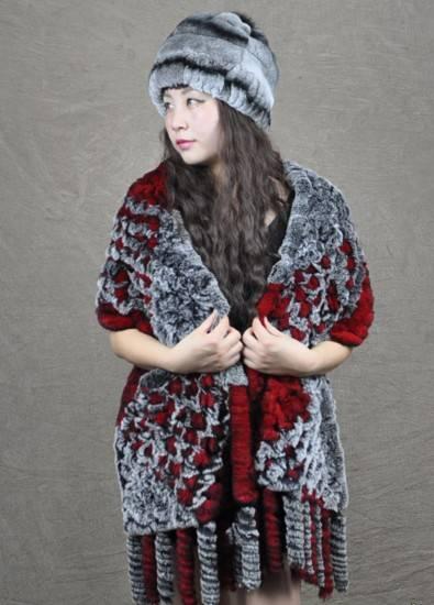 Rabbit fur scarf shawl