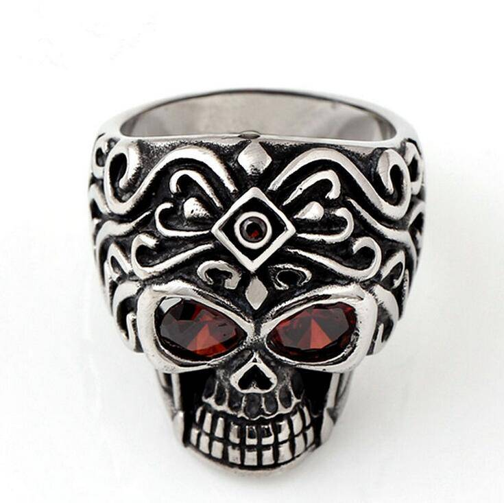 New Design 316L Stainless Steel Men's Metal Skull Ring RING SIZE 7-12 with black epoxy