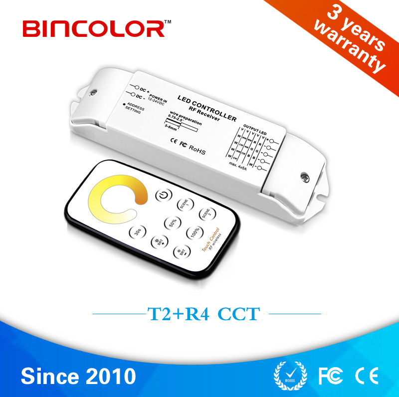 T2+R4 DC12-24V 4 channels color temperature led controller with RF touch sensor remote control