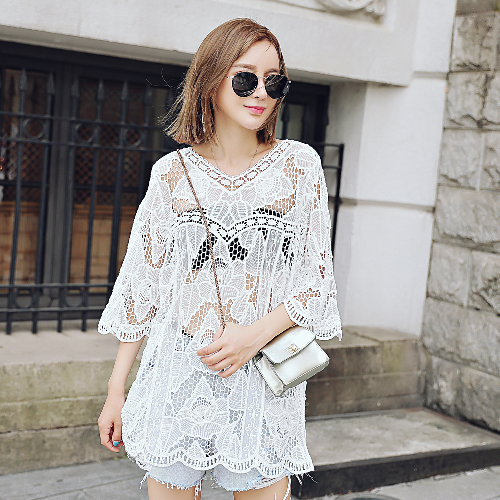 Sleeved lace hollow jacket ladies lace hollow autumn blouse lace blouse autumn section
