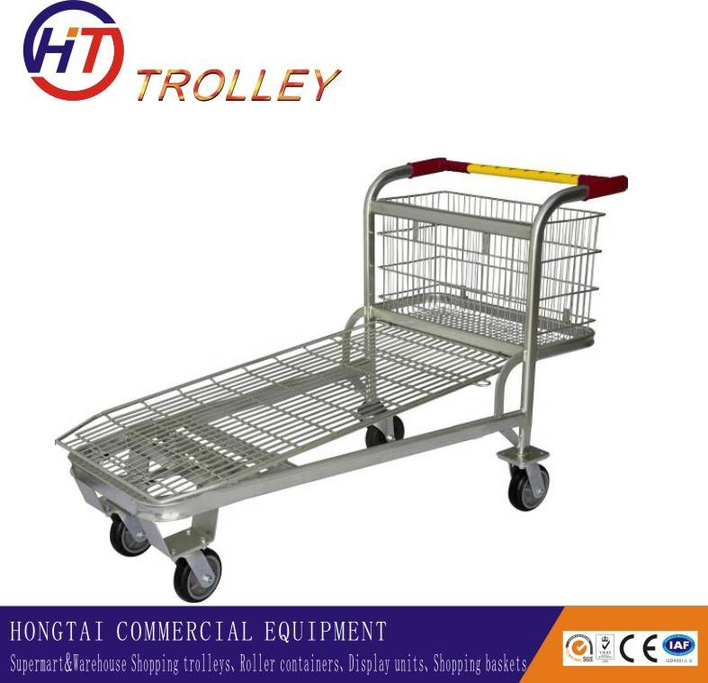 heavy duty one level warehouse five castor flatbed cargo trolley