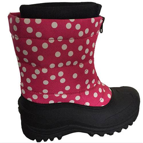 Red and bubble upper snow boots