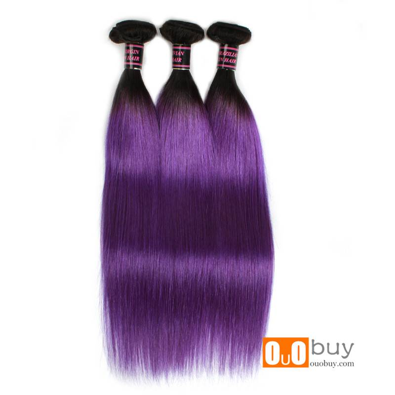 100%Human Hair 8A Purple Straight Hair Remy Human Hair Peruvian Remy Hair