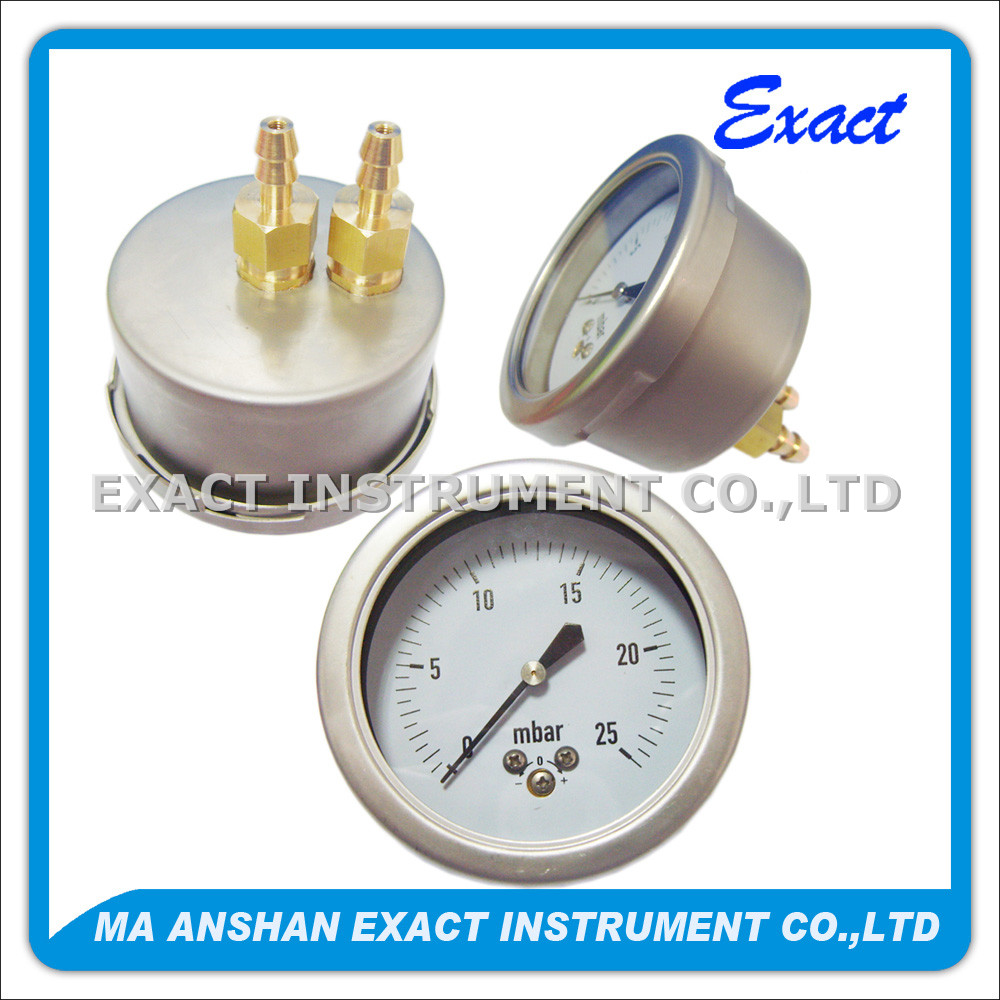 Double Bourdon Tube Mbar Differential Pressure Gauge