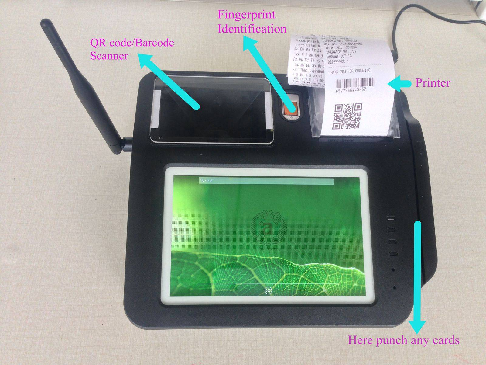 Android POS with QR code, Fingerprint, 58mm Print, NFC,multi-touch screen