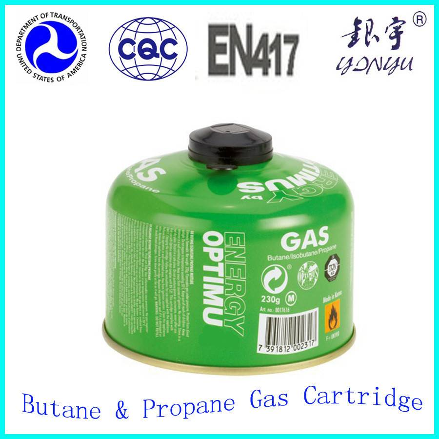 Portable butane gas cartridges 220gr with nozzle type of valve