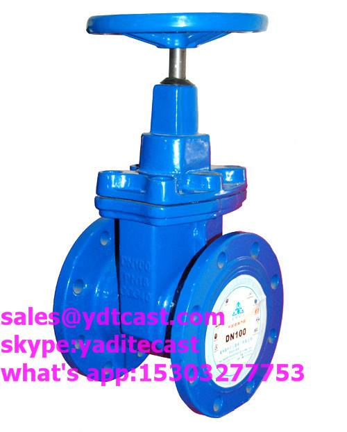 din 3352 PN16 f4gate valve blue color dn100 hand wheel