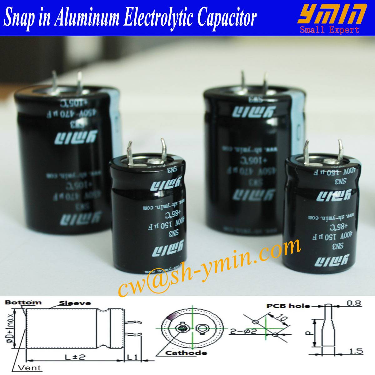 105°C 6000 Hours Capacitor Snap in Electrolytic Capacitor 450V 390uF