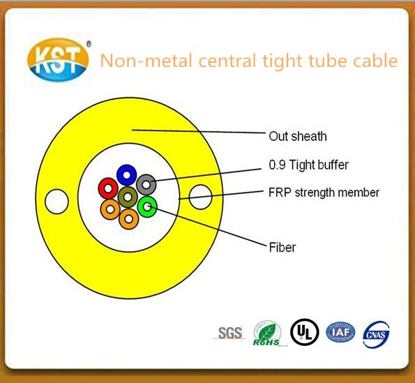 Fiber cable/24 cores Non-metal Central Tight Tube Outdoor optical Cable