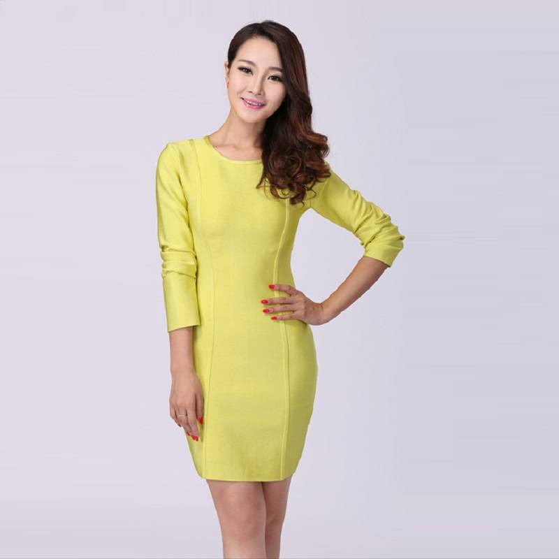 Classic design woman wrap bandage dress yellow color simple style