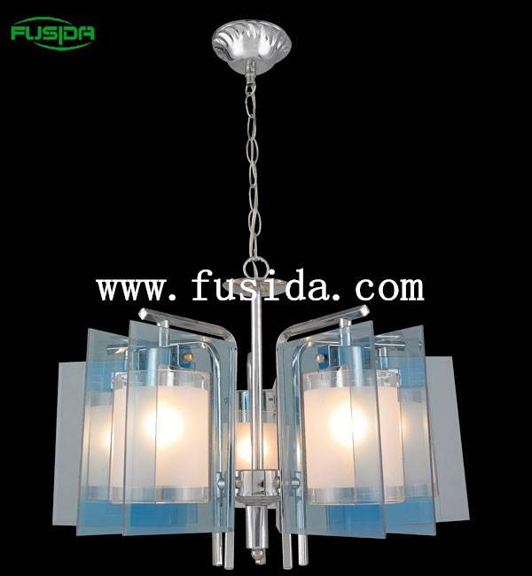 Modern European white 5 head glass chandelier light for commercial/home led chandelier