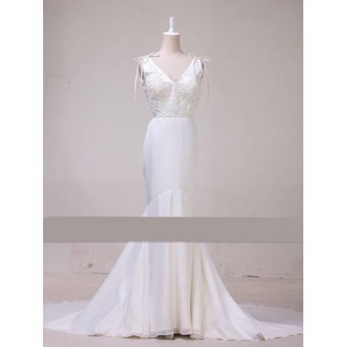 ELEGANT MERMAID CHIFFON&SATIN V-NECK BACKLESS EMBELLISHMENT WITH BEADING CHAPEL TRAIN WEDDING DRESS