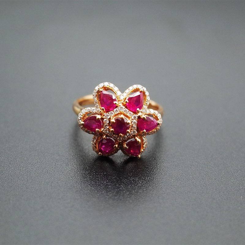 Ruby Engagement Rings 18K Rose Gold Natural Gemstone Fashion Charms for Women