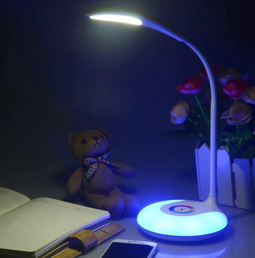 CE RoHS Modern Table Lamp Desk Lamp Night light 3W LED 3-Level dimmer switch, with RGB Li-on Battery