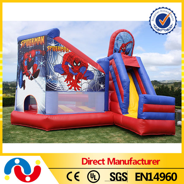 PVC tarpaulin bouncer toy kids inflatable spiderman bouncy house for sale