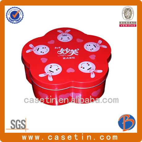 made in china customized flower shape metal gift tin boxes with food grade varnish