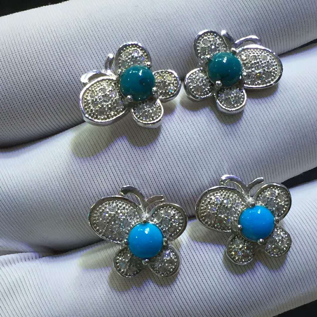 Wholesale boutique earrings silver and turquoise earrings wedding gift jewelry butterfly earrings