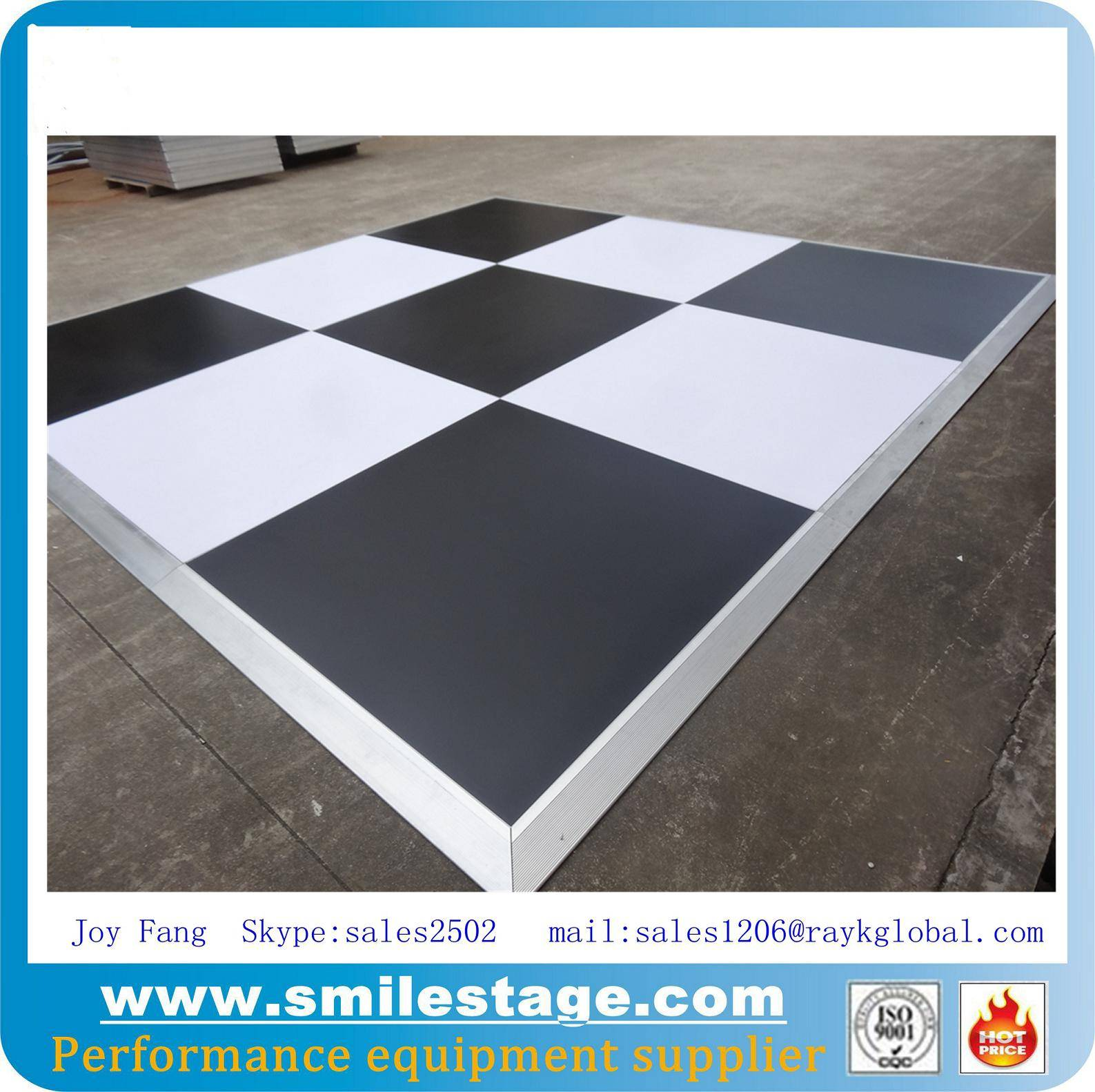 Laminate black and white dance floor portable
