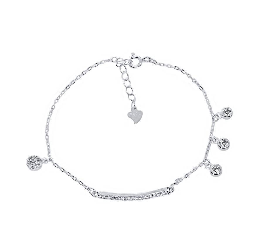 925 Silver Micropave Statement Charm Bracelet