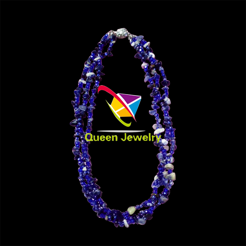 wholesale jewelry set multi-gemstone hand-crafted design Semi-Precious Choker silk thread necklace