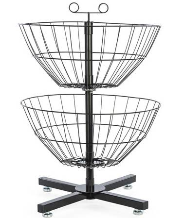 2-Tier Wire Dump Bin w/ 2 Rotating Baskets, Countertop - Black
