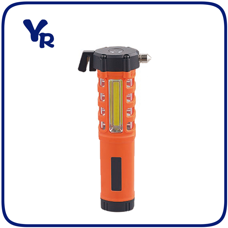 Multifunction Plastic Emergency Light Tool light and Flashlight with Hammer and Belt Cutter