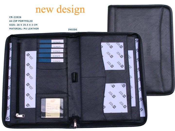 Hot selling a4 zip portfolio with popular style for business