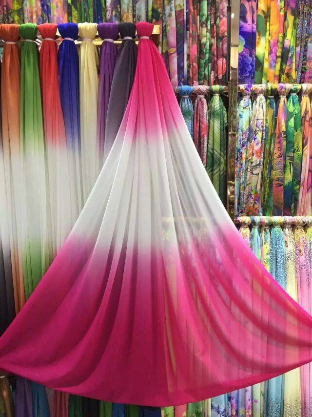 The export of silk georgette Xian dress fabric printing transparent silk chiffon silk cloth through