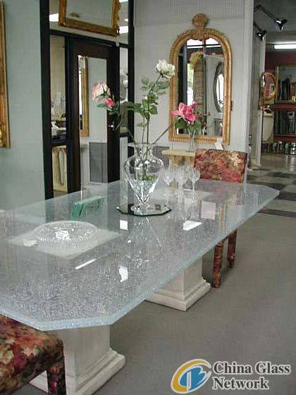 Clear Ice Cracked Tempered Glass Tables